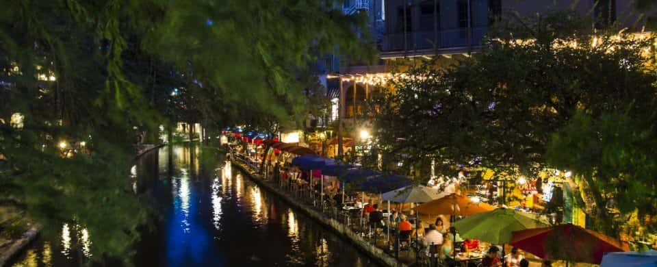 riverwalk in San Antonio at night, Texas